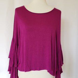 3/$20 ⭐ Gaze Boho Chic Bell Sleeve Top ~ Size L.